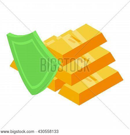 Gold Bars Reserves Icon Isometric Vector. Bar Bullion. Golden Ingot