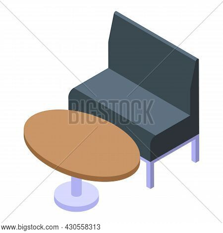 Bank Sofa Icon Isometric Vector. Building Interior. Inside Lounge