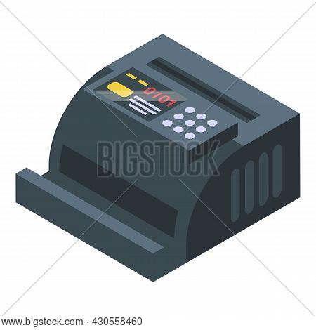 Cash Count Machine Icon Isometric Vector. Money Counting. Bank Counter