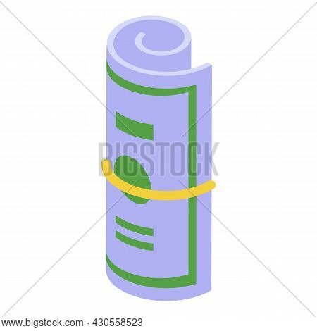 Dollar Tip Roll Icon Isometric Vector. Money Stack. American Cash