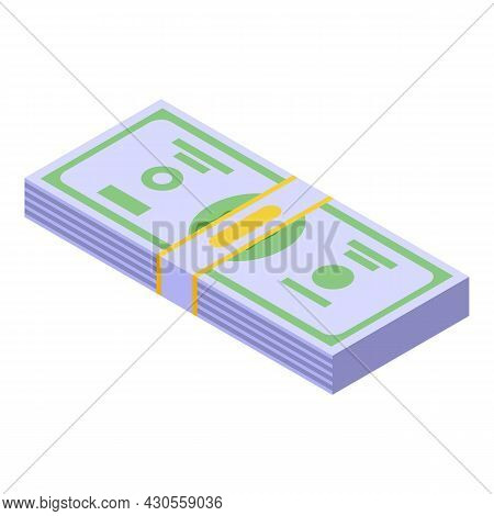 Bank Dollar Cash Icon Isometric Vector. Money Pile. Pay Stack