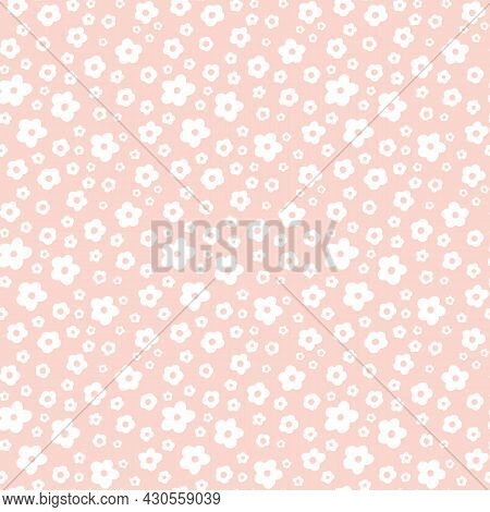 Ditsy Floral Seamless Pattern. Small White Meadow Flowers On Pink Beige Background. Vintage Liberty
