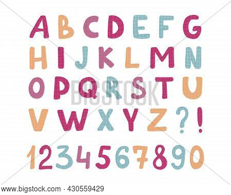 Alphabet Childrens Font. Funny Kid Cartoon Letters For School, Kindergarten. Cute Color Alphabet. Ba