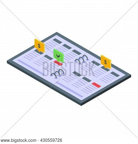 Agenda Finance Strategy Icon Isometric Vector. Media Impact. Web Business