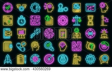 Problem Solving Icons Set. Outline Set Of Problem Solving Vector Icons Neon Color On Black