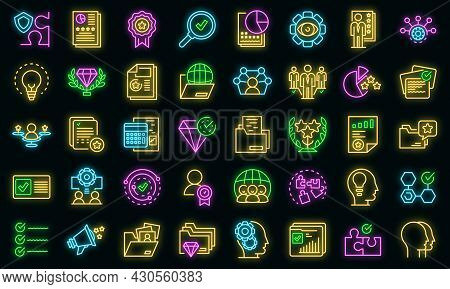 Expertise Icons Set. Outline Set Of Expertise Vector Icons Neon Color On Black