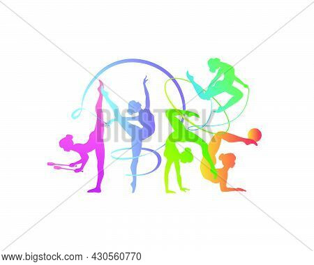 Rhythmic Gymnastics Girls With Different Inventory. Vector Dancer Colorful Silhouettes