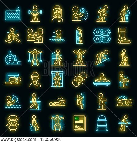 Physical Therapist Icons Set. Outline Set Of Physical Therapist Vector Icons Neon Color On Black