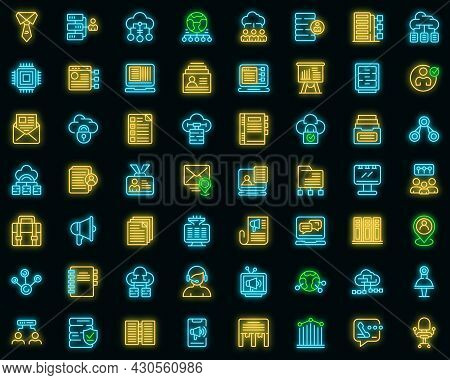 Customer Database Icons Set. Outline Set Of Customer Database Vector Icons Neon Color On Black