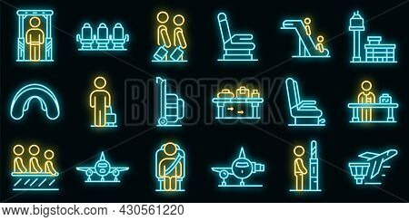 Airline Passengers Icons Set. Outline Set Of Airline Passengers Vector Icons Neon Color On Black