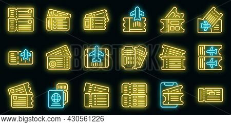 Airline Tickets Icons Set. Outline Set Of Airline Tickets Vector Icons Neon Color On Black