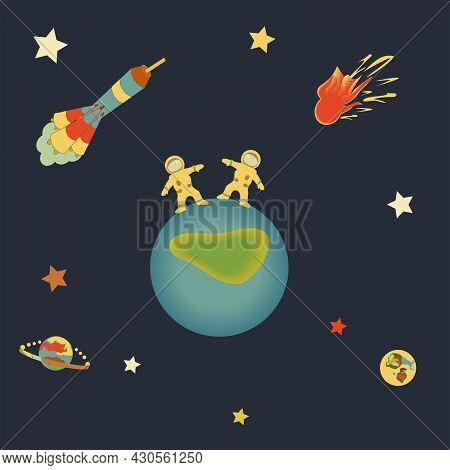Drawing On The Theme Of Space. Astronauts Hold Hands On A New Planet In Outer Space. Around The Star
