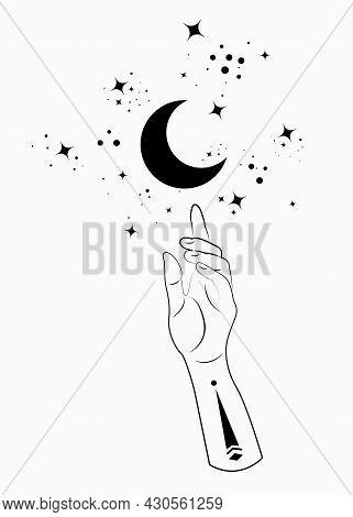 Mystical Hand Alchemy Esoteric Magic Moon Symbol, Sacred Geometry. Boho Style Logo In Black Outline