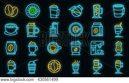 Latte Icons Set. Outline Set Of Latte Vector Icons Neon Color On Black