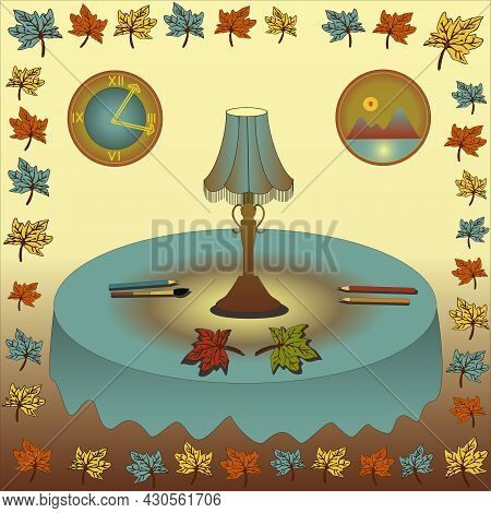 Table Lamp On A Round Table With A Tablecloth And Autumn Leaves. Table Lamp On A Round Table With A