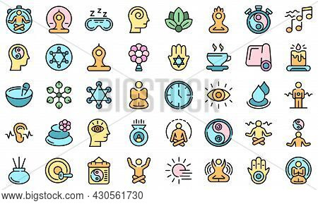 Spiritual Practices Icons Set. Outline Set Of Spiritual Practices Vector Icons Thin Line Color Flat