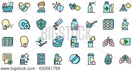 Cough Drops Icons Set. Outline Set Of Cough Drops Vector Icons Thin Line Color Flat On White