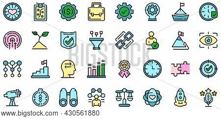 Core Values Icons Set. Outline Set Of Core Values Vector Icons Thin Line Color Flat On White