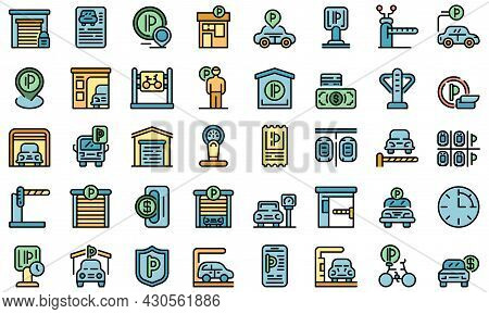 Paid Parking Icons Set. Outline Set Of Paid Parking Vector Icons Thin Line Color Flat On White