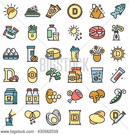 Vitamin D Icons Set. Outline Set Of Vitamin D Vector Icons Thin Line Color Flat On White