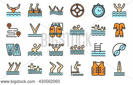 Synchronized Swimming Icon. Outline Synchronized Swimming Vector Icon Thin Line Color Flat On White