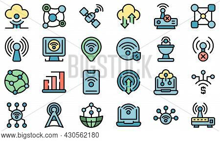 Internet Connection Icons Set. Outline Set Of Internet Connection Vector Icons Thin Line Color Flat