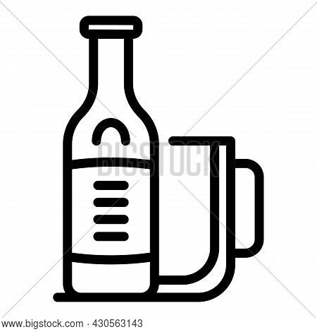 Beer Bottle Mug Icon Outline Vector. Glass Pint. Cap Hop Bar