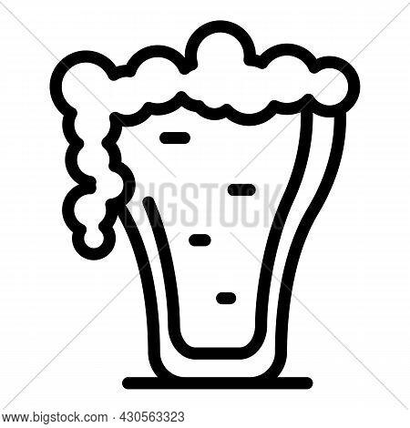 Full Beer Mug Icon Outline Vector. Foam Glass. Pint Toast