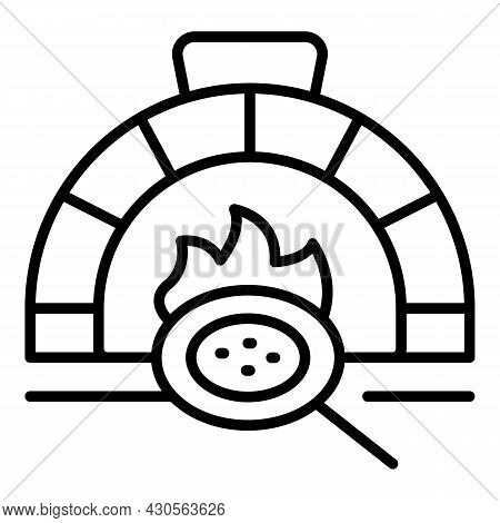 Stove Pizza Icon Outline Vector. Oven Brick. Stone Firewood