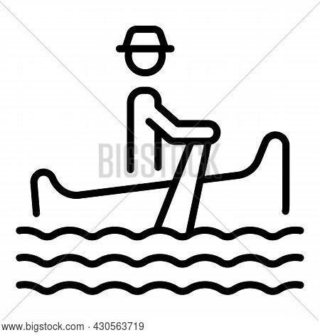 Venezia Gondolier Icon Outline Vector. Venice Gondola. Boat Man