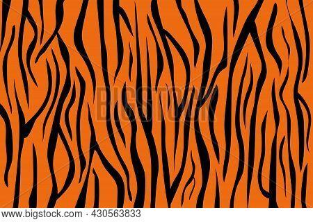 Abstract Background. Bengal Tiger Skin Pattern Texture Orange And Black Stripe. Illustration Art Des