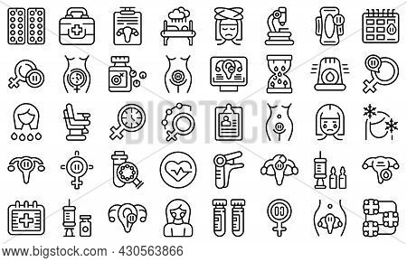 Menopause Icons Set Outline Vector. Female Fertility. Age Cycle