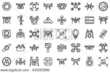 Aerial Videography Icons Set Outline Vector. Drone Camera. Aero Filming