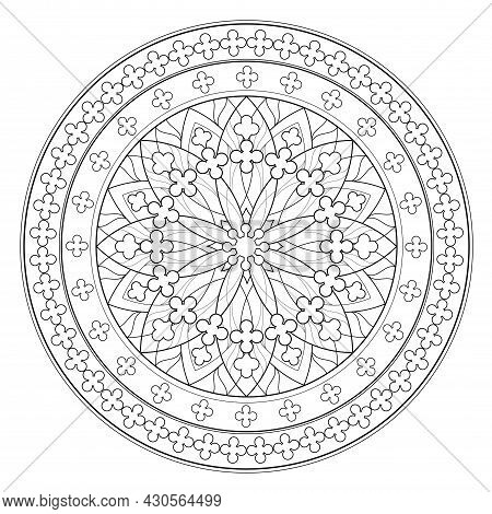Black And White Page For Coloring Book. Fantasy Drawing Of Beautiful Gothic Rose Window With Stained