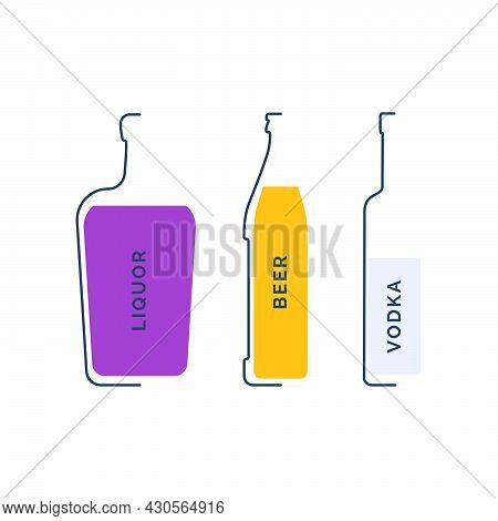 Bottle Liquor, Beer And Vodka In Linear Style On White Background. Black Thin Outline In The Form Of