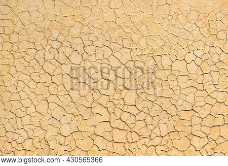 Texture Of Cracked Clay On Dried River Bed, Natural Pattern