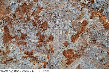 Grey Stone Texture With Spots Of Rust, Abandoned Industrial Background