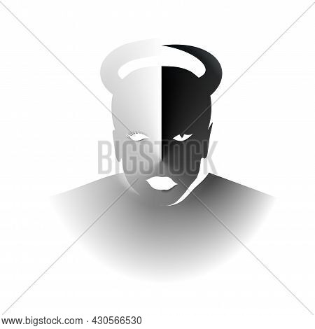 Abstract Minimal Contrast Black And White, Good Evil Girl. Halloween Concept Silhouettes Symbol Love