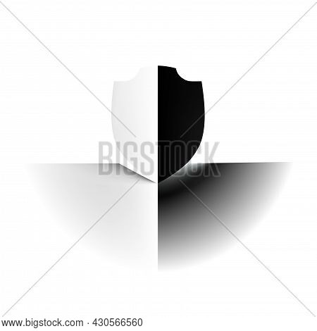Abstract Minimal Contrast Shield White And Black Concept Light Pale Safety. Delicate Nuance Of Muted