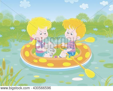 Happy Little Girl And Boy With Their Merry Pup Riding An Inflatable Boat On A Small Lake In A Pretty