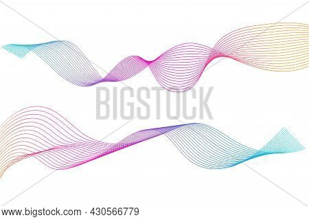 Abstract Wavy Stripes. Colorful Wave Lines Isolated White Background. Curved Wavy Line. Element For