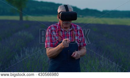 Senior Grandfather Farmer In Virtual Reality Helmet In Field Of Lavender Flowers. Man Wearing Vr Gla