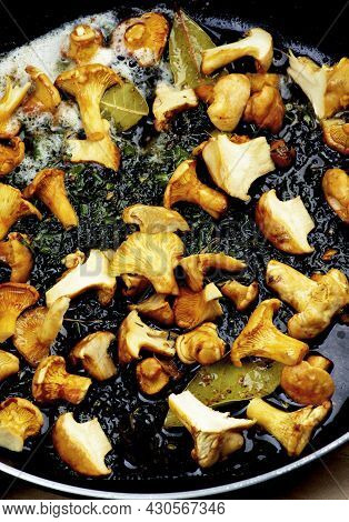 Small Chanterelles Mushrooms Fried With Butter And Spices Closeup In Iron Pan