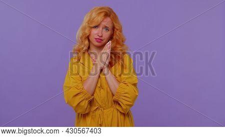 Please, God Help. Redhead Lovely Girl Praying, Looking Upward And Making Wish, Asking With Hopeful I