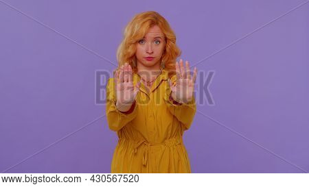 No Stop. Stylish Adult Girl Say No Hold Palm Folded Crossed Hands In Stop Danger Gesture, Warning Of