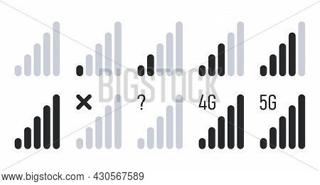 Mobile Signal Strength Indicator Set. Signal From Low To High, No Signal, 4g, 5g Network Connection