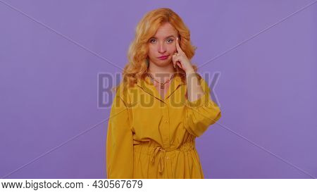 You Are Crazy, Out Of Mind. Redhead Girl In Yellow Dress Pointing At Camera And Showing Stupid Gestu