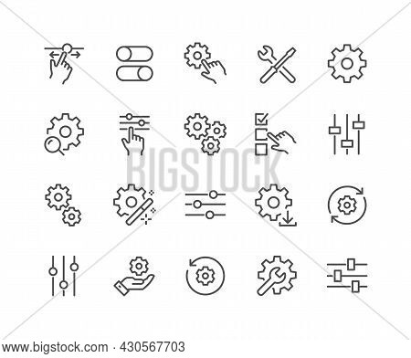 Simple Set Of Setup And Settings Related Vector Line Icons. Contains Such Icons As Installation Wiza