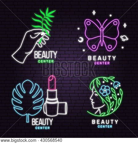 Neon Sign. Set Of Beauty Center Emblem With Woman Face, Ceramic Candle Aroma Oil Lamp, Mortar And Pe