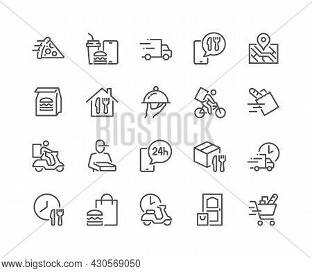 Simple Set Of Food Delivery Related Vector Line Icons. Contains Such Icons As Courier On The Bike, F
